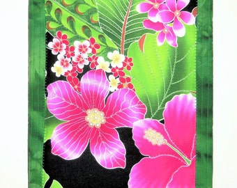 Asian Wall Hanging, 3D Floral Decor, 9X12 Canvas Art, Quilted Wall Decor, Quilted Fibre Art, Quilted Wall Hanging, Sewnsewsister