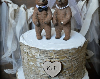 Bear wedding cake topper-bears-bear lover-black bear-grizzley bear-brown bear-bear lover-bear wedding-rustic wedding-fall wedding-kissing
