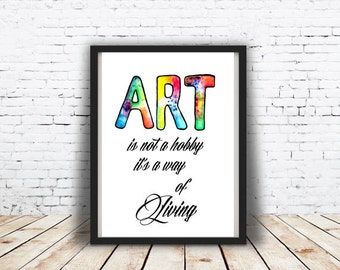 Art quote print Printable Wall Art Typographic print Art deco Artist room decor Gift for artist Printable poster Wall deco INSTANT DOWNLOAD