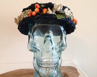 Vintage Straw Hat with Fruit and Flowers