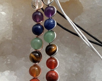 Chakra necklace wire wrapped