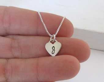 Girls Personalized Jewelry, Initial Necklace, Sterling Silver Hand Stamped Heart Charm  Necklace, Childrens Jewelry
