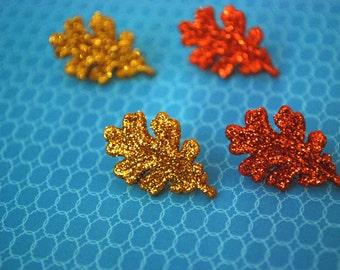 Leaf Studs -- Glittery Leaf Earrings, Glittery Leaves, You Choose the Color!