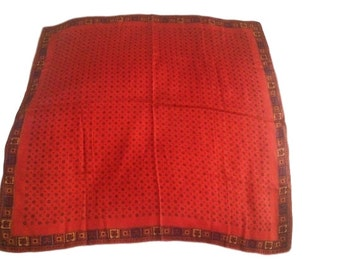 Vintage Red Silk Patterned Scarf