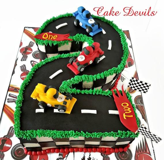 Mini Race Car Fondant Cake Toppers Handmade Edible Sports Car
