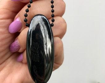 Gorg! Rare Black Aura Quartz Oval Pendant with 30 inch adjustable stainless steel black ball chain