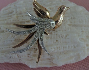 Bird of Paradise Brooch, Mixed Metal and Rhinestones, - REDuCED