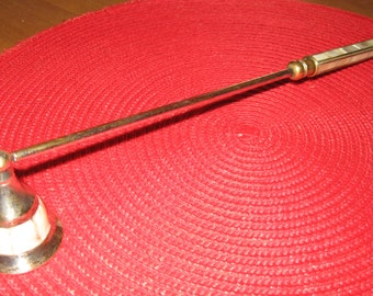 "Vintage Silver Plate and Mother-of-Pearl Candle Snuffer. 12"" Long Handle with Brass Detailing"