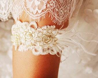 Bridal Garter Wedding Garter Belt - Luxury Ostrich Feather Garter Belt - Gold Ivory Lace Garter - Prom Garter Floral Garter