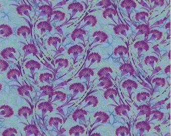Pastiche, In the Beginning Fabrics, Jason Yenter, Pinks, Purple Flower Print on Blue