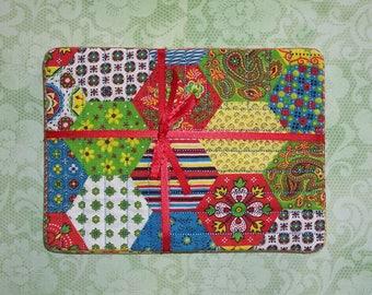 Calico Hexagon Block Fabric Snack Mat Mug Rug Set of 4