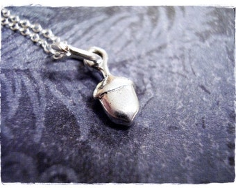 Tiny Smooth Acorn Necklace - Sterling Silver Acorn Charm on a Delicate Sterling Silver Cable Chain or Charm Only
