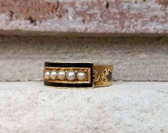 Antique 1889 Victorian Mourning Ring with Enamel and Pearl Set in 15k Gold   Memory Ring   Memorial Ring with Inscription