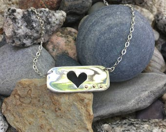Personal Necklace, Love Necklace, Silver Heart Necklace, Love Jewelry, Anniversary Gift for Girlfriend, Meaningful Necklace, Unique Gifts