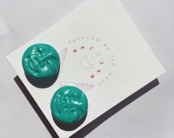 MOON FACE STUDS // sterling silver in 'Emerald'