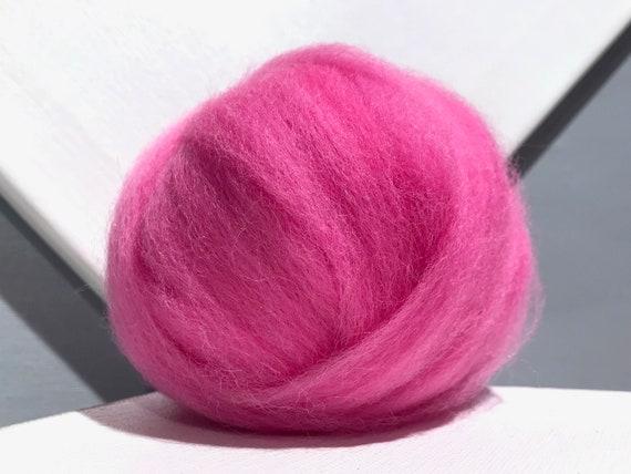 Cosmos Pink Wool Roving, Needle Felting wool, Spinning Fiber, bright pink felting wool, pink roving