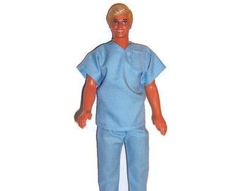 "12"" Doll Clothes-Light Blue Scrub Set"