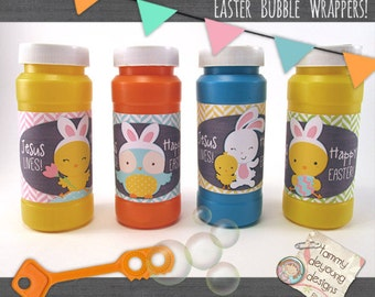Religious Easter Bubble Labels, Jesus Lives Easter bubble wrappers, printable Easter party favors, Easter bunny basket stuffer for kids