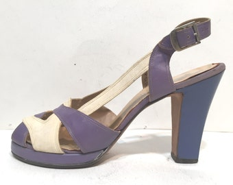 1940s platfrom sandals - size 6.5S - 1940s lavender and cream platform sandals - 1940s purple platform shoes