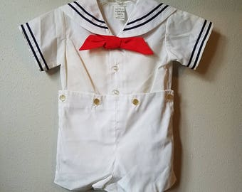 Vintage Boys Classic white sailor suit with red tie- All Sizes- new, never worn