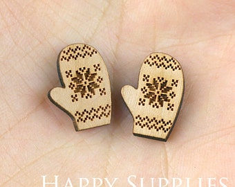 4pcs (SWC117) DIY Laser Cut Wooden Gloves Charms