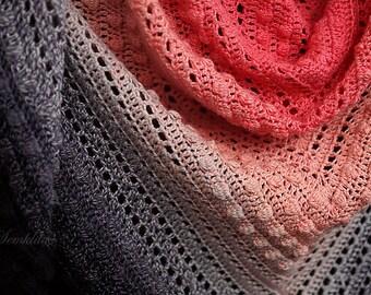 Crochet shawl wrap, knitted triangular shawl, cotton shawl, rad and black shawl, gift for women, handknit scarf, handmade crochet shawl