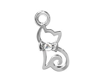 Charm Kitty with Swarovski elements Silver 925