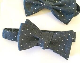 Polka dot bow tie, polka dot, denim, indigo, cotton, wedding, groomsmen, chambray tie, custom tie, mens tie, self tie, chambray