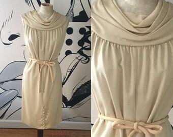 Sleeveless Ivory Dress with Rouching Neck