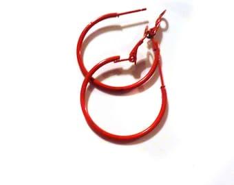 Red Hoop Earrings Classic Hoop Red Hoop Earrings Thin Hoops 1.75 inch Hoops