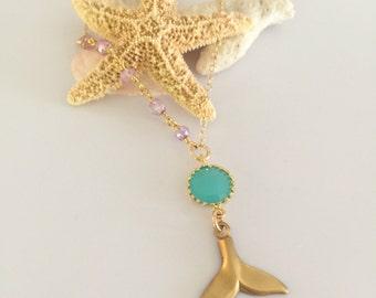 Asymmetrical Beaded Whale Dolphin Mermaid Layering Bohemian Necklace