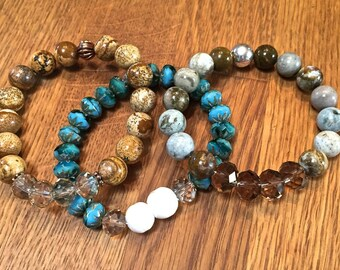 Boho beachy stretch bracelet set, stackable bohemian stretch bracelets, gemstone stacking bracelet set /Sand Sea & Ocean/ jasper and shell