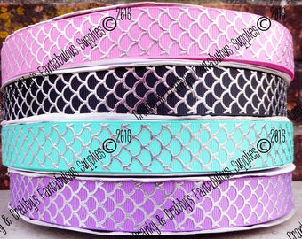 Mermaid Scale Ribbon  - Little Mermaid - Dragon Scale Ribbon  - Designer Printed Ribbon - 1yd, 3yd or 5 yd - Scales - 5 color choices