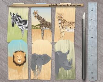 Safari Party Favor Tags Jungle Animal Baby Shower Tags Printable Zoo Party Favors Animal Gift Tags Elephant Rhino Lion Zebra Giraffe Cheetah