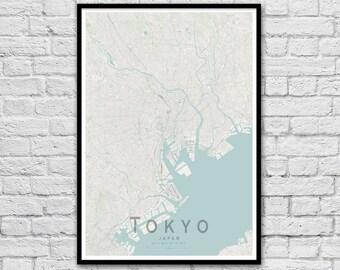 TOKYO Map Print   Japan Travel Print   Wall Art Poster   Wedding Gift   Anniversary Gift   Wall decor   A3 A2