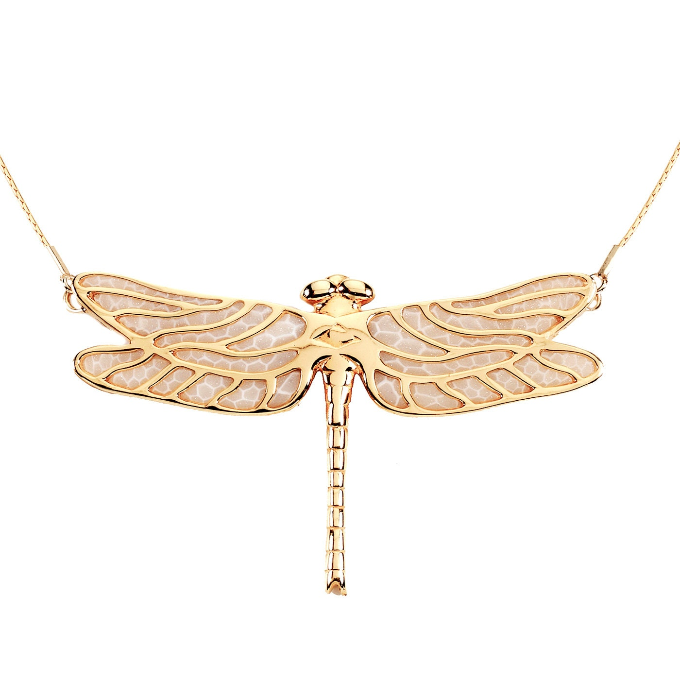 dragonfly necklace gold plated sterling silver handmade