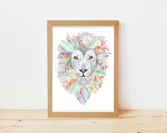 lion drawing, botanical drawing, lion illustration, botanical illustration, nature illustration, floral print, animal drawing, botanical