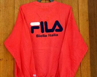 Rare!! FILA Biella Italia sweatshirt spell out embroidery nice design hip hop style big logo red colour XL size 2hdIrpx