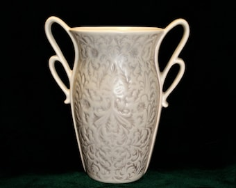 Large Red Wing pottery vase; white and taupe, gray;  1930's pottery; B-14