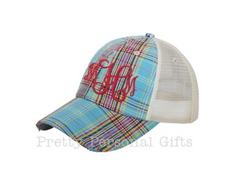 Plaid Trucker Hat with monogram - distressed plaid baseball hat
