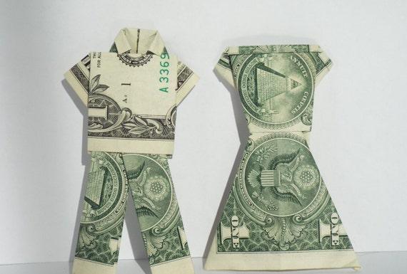 Bride and groom dollar origami