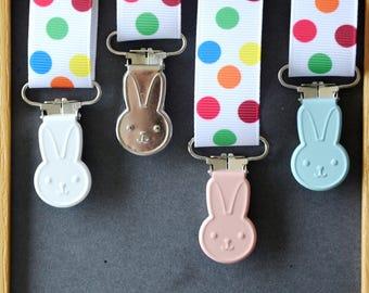 """Clip tie dummy/Suspender """"WABBITS"""" pink pastel blue/pastel/white/metal"""