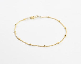 Dotted chain bracelet - delicate gold chain bracelet - gold filled chain - delicate jewelry - simple bracelet - Satellite gold