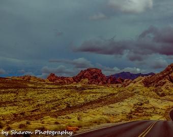 Landscape, Landscape wall art, Landscape photography, Valley of Fire, Nevada, Nature, Fine art photograph, Home decor, Winding road