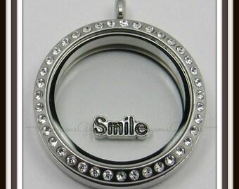 Smile Floating Charm for Glass Locket / Floating Locket / Living Locket