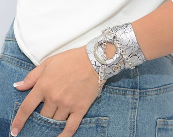 Silver Wrap Bracelet, Leather Silver Bracelet, Leather Wrap Bracelets, Leather Bracelets For Women, Wrap Around Bracelets, Bohemian Fashion