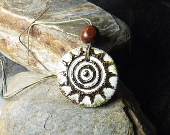 Aztec Sun essential oil diffuser pendant necklace #405