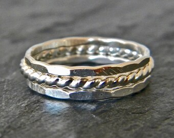 Big Silver Ring - Sterling Silver Thumb Ring - Thumb Rings For Women - Silver Stacking Rings - Stacking Ring Set - Large Ring Set Silver