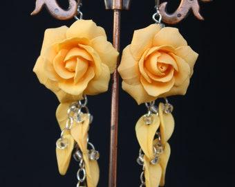 Roses Earrings - Earrings Jewelry - Flower Earrings - Wedding Earrings  - Polyner clay Earrings