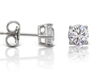 Diamond Stud Earrings in 14kt White Gold 4-Prong Basket Setting (1.60ct. tw.), Diamond Earrings, Solitaire Earrings, Round Diamond Earrings